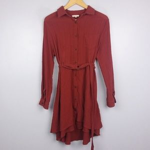 Easel Burnt Orange Button Up Long Sleeve Dress
